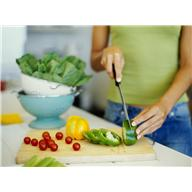 food - veggies - womans cutting them