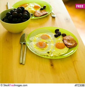food - breakfast eggs and meat and olives