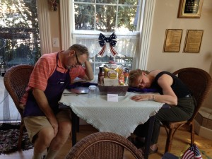 otgh me and dave asleep on table